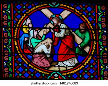 Saint-Adresse, France - August 15, 2019: Stained Glass in the Chapel of Notre-Dame-des-flots in Sainte Adresse, Le Havre, France, depicting Jesus Carrying the Cross on the Via Dolorosa in Jerusalem