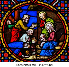 Saint-Adresse, France - August 15, 2019: Stained Glass in the Chapel of Notre-Dame-des-flots (1857) in Sainte Adresse, Le Havre, France, depicting the Epiphany or Visit of the Three Kings in Bethlehem