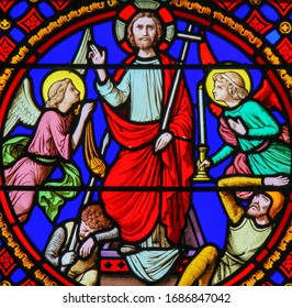 Saint-Adresse, France - August 15, 2019: Stained Glass in the Chapel of Notre-Dame-des-flots (1857) in Sainte Adresse, Le Havre, France, depicting the Resurrection of Jesus
