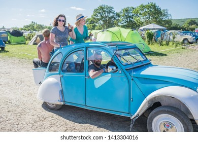 "SAINT-AMAND-MONTROND - FRANCE, JUNE 01, 2019: A French Citroen 2CV oldtimer classic car at the annual club meeting called ""Rencontre Nationale des 2CV Clubs de France"""