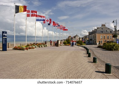 Saint-Aubin-sur-Mer, Normandy, France: September 1, 2017 - D-Day memorial landing site of the Canadian North Shore (New Brunswick) Regiment & the British No. 48 (Royal Marine) Commando