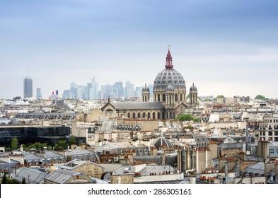 Saint-Augustin Church with Paris Skyline, France.