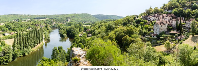 Saint-Cirq Lapopie, a medieval village built on a rocky outcrop overlooking the Lot River, in the south-west of France
