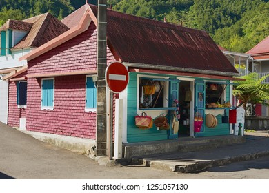 Saint-Denis De La Reunion, France - December 07, 2010: Colorful souvenir and fruit shop building at the town of Fond de Rond Point in Saint-Denis De La Reunion, France.