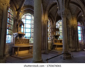 Saint-Denis, France - July 11, 2018: The interior of Rayonnant Gothic choir of Basilica Cathedral of Saint-Denis