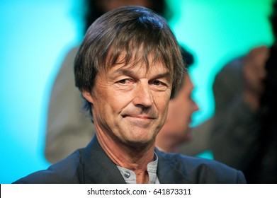 Saint-Denis near PARIS, FRANCE - APRIL 13, 2011 : Environmentalist and broadcaster TV Nicolas Hulot during the presentation of his candidacy for the French presidential election 2012.