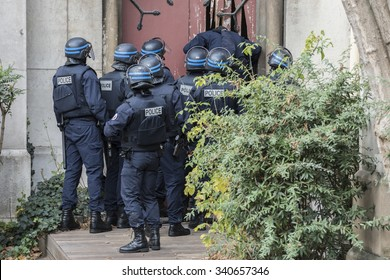 SAINT-DENIS near Paris, FRANCE - NOVEMBER 18, 2015 : intervention of the French police to stop the radical Islamists involved in the terrorist attacks in Paris on 13 November 2015.