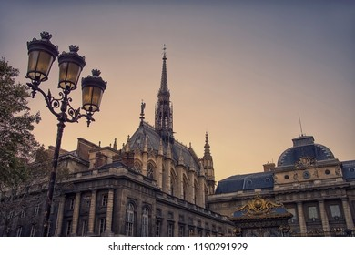 Sainte Chapelle viewed from the entrance of the court in Paris