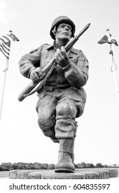 SAINTE MARIE DU MONT, France June 7 2016, A monument to Maj. Richard Winters, who led paratroopers from Company E, 2nd Battalion, 506th PIR, 101st Airborne Division, during the D-Day landings.