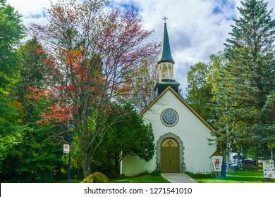 Sainte-Adele, Canada - September 28, 2018: The United Church of Canada in Sainte-Adele, Laurentian Mountains, Quebec, Canada