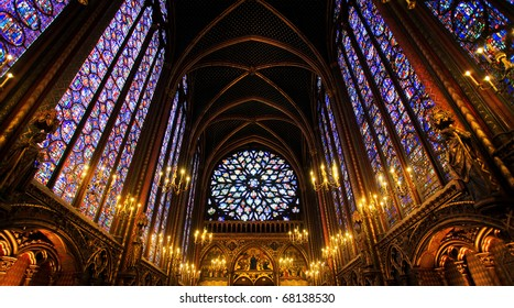 Sainte-Chapelle Chapel in Paris, France. Famous stained glass windows and ceiling.