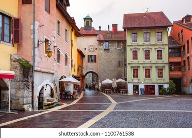 Sainte-Claire gate with clock tower and Place Sainte-Claire in Old Town of Annecy, France