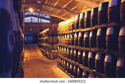 Sainte-Marie, Martinique / March-12-2012 : Rhum (cane juice rum) cellars of a Rum distillery, Martinique island, French West Indies, Caribbean sea