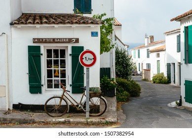 Sainte-Marie-de-Re, France - August 7, 2018: Picturesque artisan gallery in the center of the village in the Island of Re
