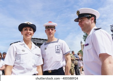 SAINTE-MERE-EGLISE, FRANCE - JUNE 6, 2014: People in French navy uniform during the commemoration of the 70th anniversary of D-Day.