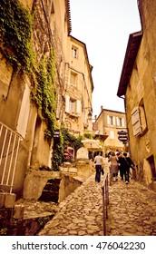 SAINT-EMILION, FRANCE - JUNE 03: Beautiful streets in Saint-Emilion on June 03, 2016 in Saint-Emilion, France.