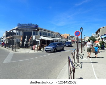 Saintes-Maries-de-la-Mer/France - August 14 2016: Rue Léon Gambetta street. Saintes-Maries-de-la-Mer is the capital of the Camargue in the south of France.