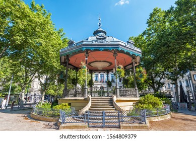 Saint-Etienne, France-July 29, 2019 The bandstand is in the square of Jean Jaures in Saint Etienne downtown. The City Hall building is at background.