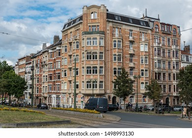 Saint-Gilles, Brussels Capital Region / Belgium - 09 07 2019: Typical traditional facade of a high rise apartment block