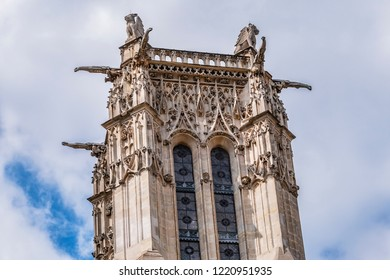 Saint-Jacques Tower (Tour Saint-Jacques) located on Rivoli street in Paris, France. This 52 m Flamboyant Gothic tower is all that remains of former XVI century Church of Saint-Jacques-de-la-Boucherie.