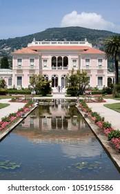 Saint-Jean-Cap-Ferrat, France - May 27, 2013: Villa Ephrussi de Rothschild - French seaside villa located at Saint-Jean-Cap-Ferrat on the French Riviera