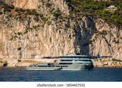 Saint-Jean-Cap-Ferrat, France: September 26, 2020: Recently Launched Superyacht Ragnar at Anchor in famous bay in the south of France
