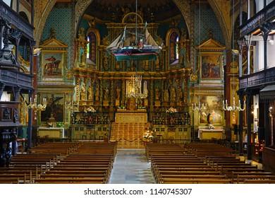 SAINT-JEAN-DE-LUZ, FRANCE -8 JUL 2018- View of the landmark historic Saint-Jean-Baptiste church (St John the Baptist) in Saint-Jean-de-Luz in the Basque Country, France.