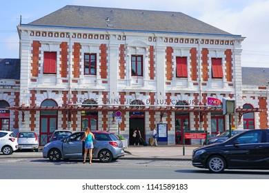 SAINT-JEAN-DE-LUZ, FRANCE -8 JUL 2018- View of the Saint-Jean-de-Luz-Ciboure railway train station on the Socoa Bay in the Basque Country, France.