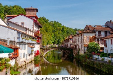 Saint-Jean-Pied-de-Port, France, September 25, 2019. French beautiful city crossed by a river.