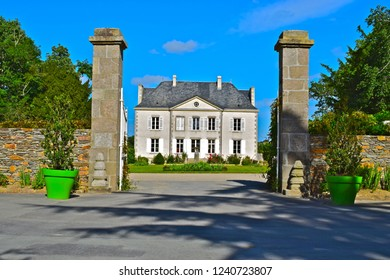 Saint-Julien-des-Landes, Vendée / France - 6/9/2017 : Chateau La Garangeoire is still used as a private home by the owners of Camping La Garangeoire , a very popular campsite in the Vendée region.