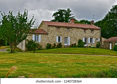Saint-Julien-des-Landes, Vendée / France - 6/9/2017 : Pretty,  traditional French Gîte with shuttered windows, located at La Garangeoire, Vendėe, Western France.
