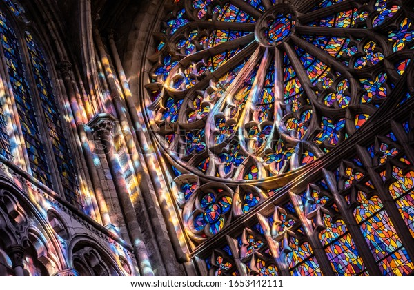 Saint-Malo, Brittany, France - Jan 15 2020 : Stained glasses in French cathedral Saint VIncent