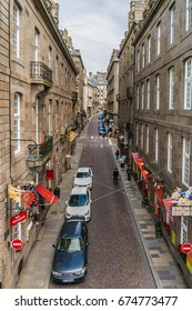 SAINT-MALO, FRANCE - JUNE 14, 2016: Street view of ancient city Saint-Malo. Saint-Malo is a walled port city in Brittany (prefecture Ille-et-Vilaine) in northwestern France on English Channel.