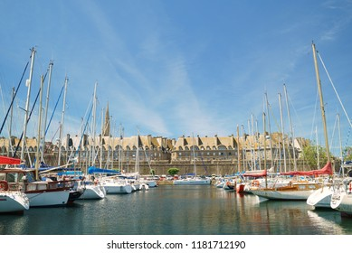 SAINT-MALO, FRANCE - JUNE 2018: Amazing view of small yacht harbour in old town of the Saint Malo city, Brittany, France.