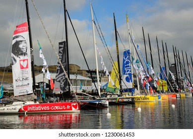 SAINT-MALO, FRANCE – OCTOBER 25, 2018: exhibition of sailing boats before the Route du Rhum departure. The Route du Rhum is a transatlantic single-handed yacht race between Saint-Malo in Brittany and