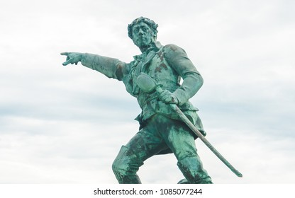 SAINT-MALO, FRANCE - OCTOBER 7, 2009: Fragment of statue of Robert Surcouf, French privateer and corsair