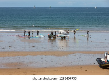 Saint-Malo, France - September 15, 2018: Unidentified people at the school of windsurf in Saint Malo, Brittany, France