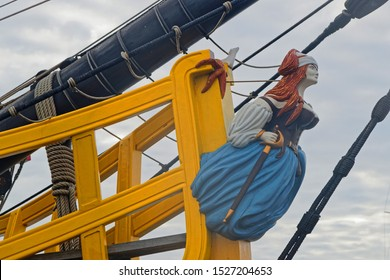 SAINT-MALO, FRANCE, September 30, 2019 : Bow of an old sailing ship in the harbor of Saint-Malo. The walled city had a long history of piracy, but now city changed into a popular tourist centre.