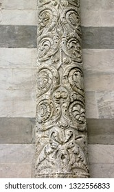 Saint-Martin Cathedral of Lucca, details of a column (Lucca Tuscany Italy)