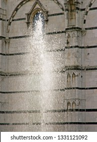 Saint-Martin de Lucques Cathedral, the water jet (Lucca Tuscany Italy)