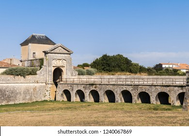 Saint-Martin-de-Re, France. The porte des Campani, ditch and fortifications at the entrance of the Old Town, a World Heritage Site since 2008