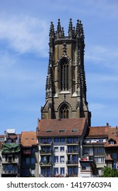 The Saint-Nicolas cathedral of Fribourg (rayonnant gothic), overlooking the old and lower town