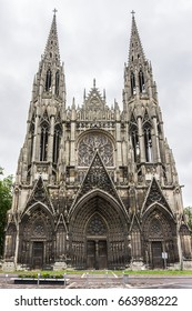 Saint-Ouen Abbey Church (Abbatiale Saint-Ouen, 1318 - 1537) is a large Gothic Roman Catholic church in Rouen, Normandy, France. Western facade with two spire-towers.