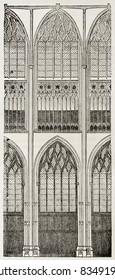 Saint-Ouen church arcade old illustration, Rouen. By unidentified author, published on Magasin Pittoresque, Paris, 1840