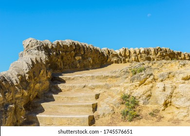 Saint-Palais-sur-Mer, Charente-Maritime / France: Stone wall and steps on the coastal footpath between two local beaches - Plage du Bureau in the town centre and Plage du Platin further down.