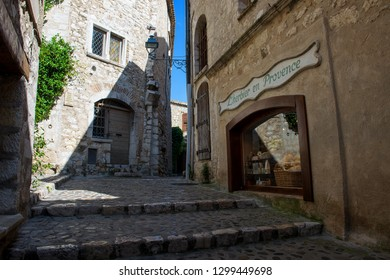 Saint-Paul-de-Vence, France  07.09.2018:  Typical alley in famous old medieval town on the French Riviera