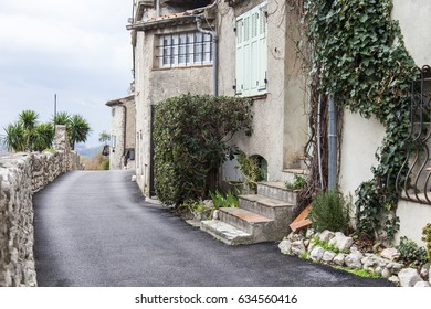 SAINT-PAUL-DE-VENCE, FRANCE, on JANUARY 9, 2017. Ancient stone buildings make architectural appearance of the typical town in mountains