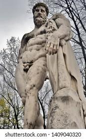 SAINT-PETERBURG, RUSSIA - MAY 02, 2019: Sculpture of Hercules Farnese in Alexanders Garden in historic city center of Saint-Petersburg. Popular landmark.