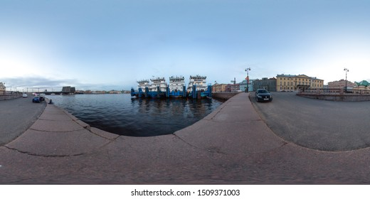 Saint-Petersburg 2019 3D spherical panorama with 360 viewing angle ready for virtual reality or VR. Neva with a ships. Annunciation bridge. Full equirectangular projection. Night at the city center.