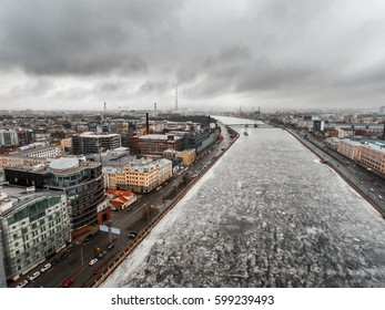 Saint-Petersburg, Aurora, winter river, neva